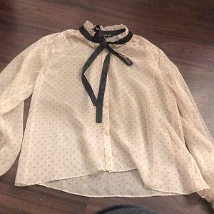 Tan polka dot blouse